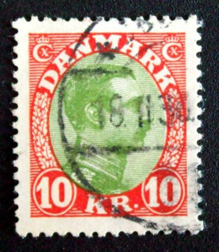 dinamarca - sello yv. 149 10kr alto usado l3270