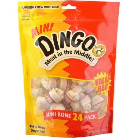 dingo mini cuero crudo mastica con la carne para los perros
