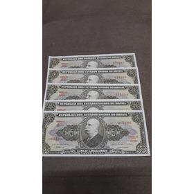 Dinheiro Antigo Cinco Cruzeiros Notas Sem Dobras Vintage