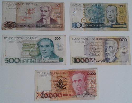 dinheiro antigo, coleção, 5 cédulas + frete pago.