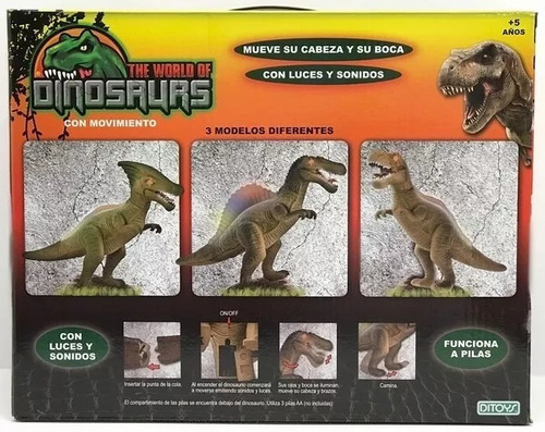 dinosaurio a pilas luz sonidos camina ditoys casa valente