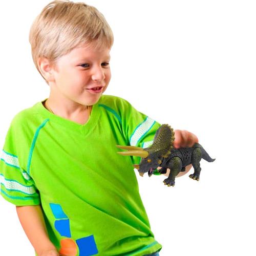 dinosaurio triceratop jurasico juguete c luz sonido realista
