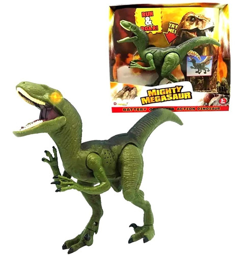 dinosaurio velociraptor juguete se mueve luz sonido jurasico