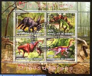dinosaurios 4 estampillas hojita souvenir    lbf