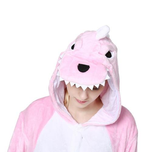 dinossauro rosa pijama macacão kigurumi - pronta entrega