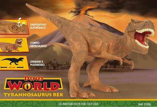 dinossauro tiranossauro rex dino world cotiplas c/ som