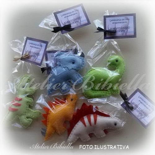dinossauros bibiella 9~11cm - kit c/ 5 lembrancinhas feltro