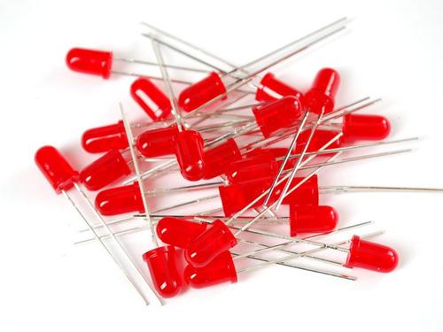 diodo led rojo 5mm redondos alto brillo x unidad 2 patas