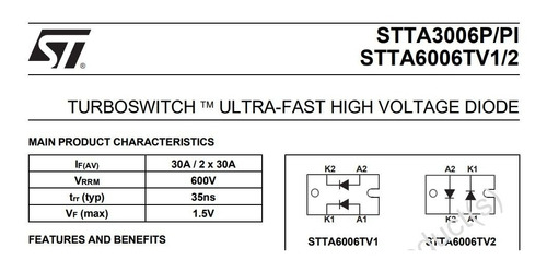 diodo rectificador semipuente 600v 60a