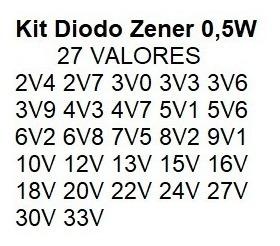 diodo zener 1/2w kit c/ 270 pçs 27 valores 10 de cada carta