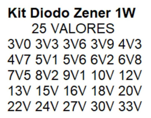 diodo zener 1w kit c/ 250 pçs 25 valores 10 de cada - carta