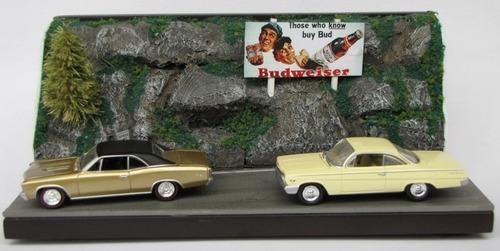 diorama carros antigos com miniaturas johnny lightning 1:64