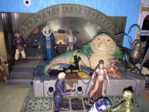 diorama del palacio de jabba the hut con figuras