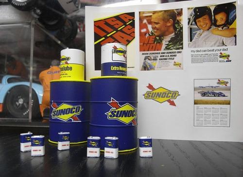diorama set barriles aceite sunoco tsm 1/18 truescale nuevo