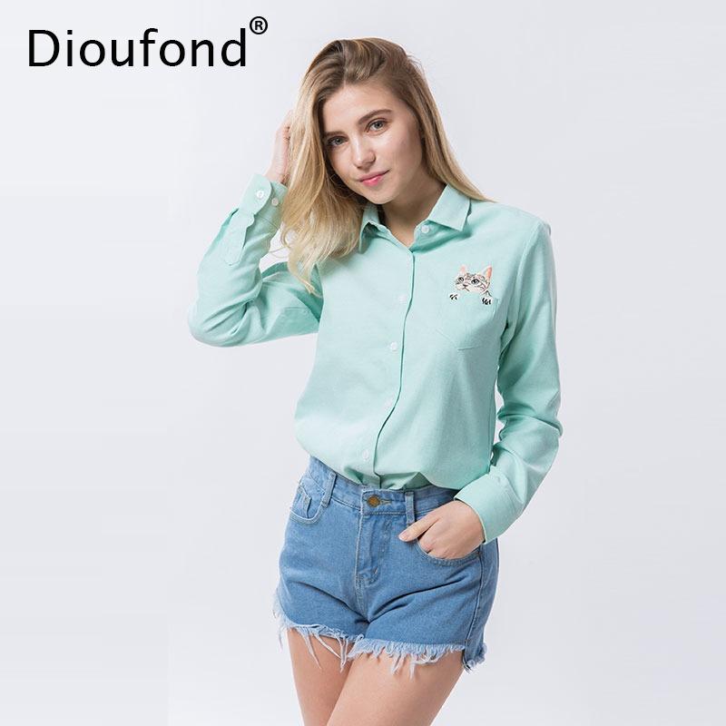 aeaaedf1d1daf Bla Camisas Gato Cargando Dioufond Manga Mujer Bordado Y Blusas Zoom Larga  ZFqg4w