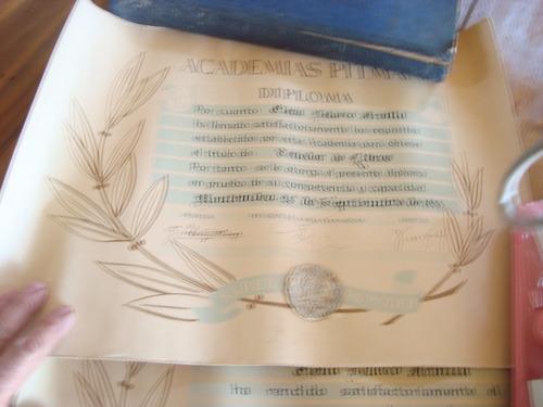 diploma de academias pigman,antiguos 1946