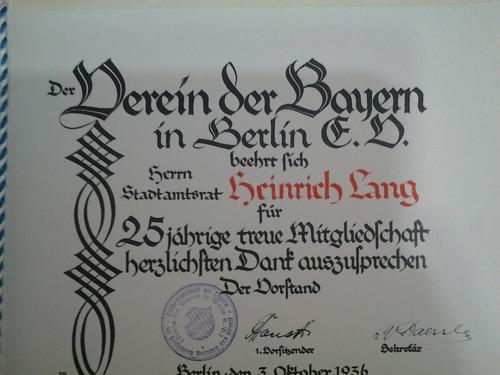 diploma ferein der bayern in berlin 1936