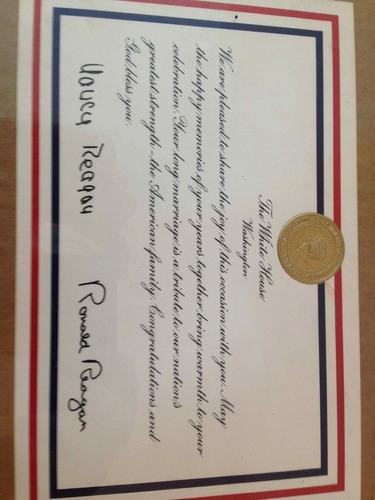 diploma visita casa branca ronal reagan e nancy reagan