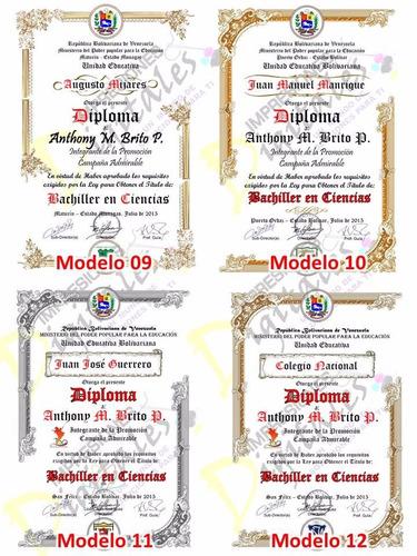 diplomas de bachiller en pergamino italiano 48x33cm