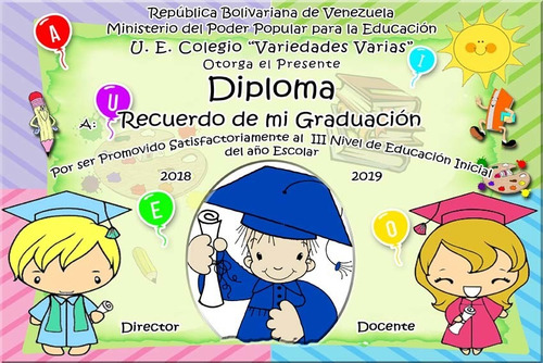 diplomas, diseños grafi, plantillas, preescolar, 6to y bachi