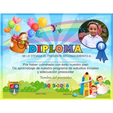diplomas, reconocimiento, certificados, preescolar y sexto