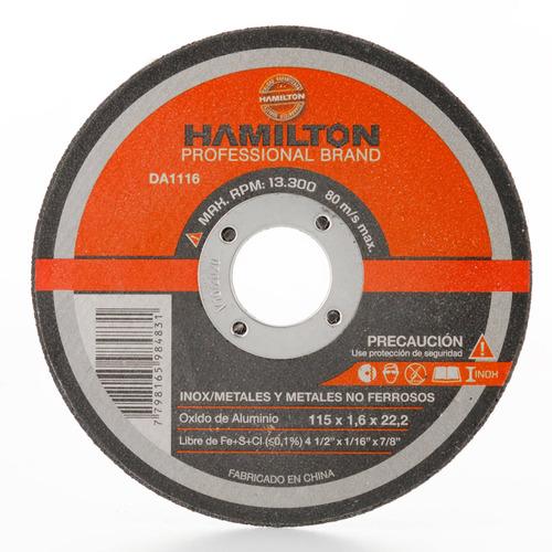 disco abrasivo corte 115 x 1,6mm acero hamilton da1116
