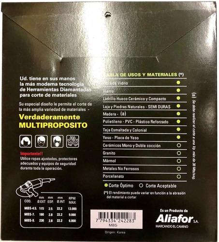 disco aliafor diamantado multinext yeso pvc hierro 115 mm