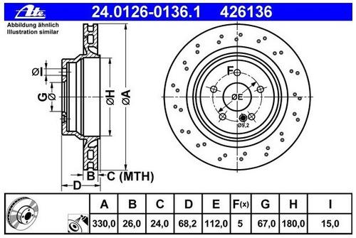 disco ate trasero m benz hiperventilado e 63 amg 6.2 l 07-10