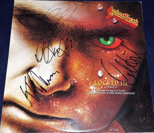 disco autografiado judas priest vinyl turbo halford downing
