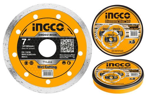 disco continuo lata x 5 pcs 7  x 22.2mm ingco dmd021802m-pa