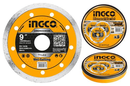 disco continuo lata x 5 pcs 9  x 22.2mm ingco dmd022302m-pa