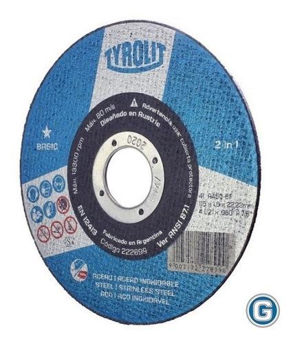 disco corte de tyrolit  basic 114 x 1,6 mm caja x 25 un gramabi amoladora 4 1/2 plano 115x1,6 hierro 114x1,6 inoxidable