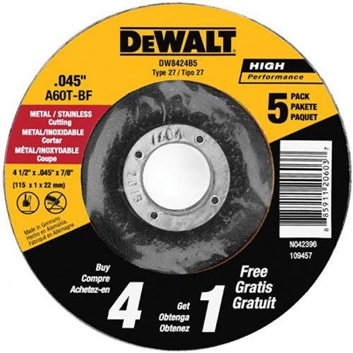 disco corte dewalt dw8424b5 4-1/2 x.045 x7/8  paquete 5