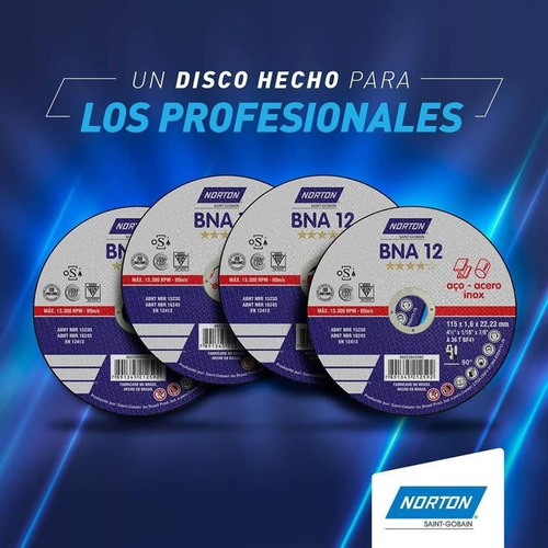 disco corte inox 4 1/2  x 3/64  x 7/8  bna12 extra norton