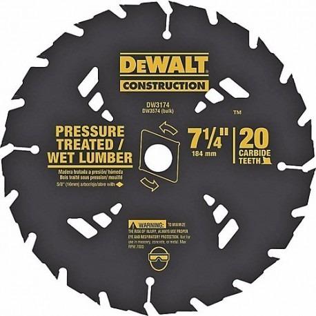 disco d cortar madera tratada a presion 7-1/4 dewalt -dw3174