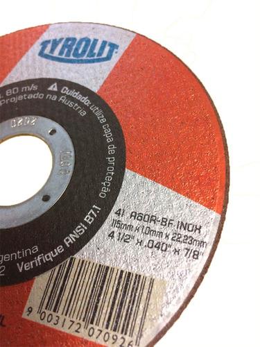 disco de corte 115 x 1,0 x 22,2 a60bf inox 50un