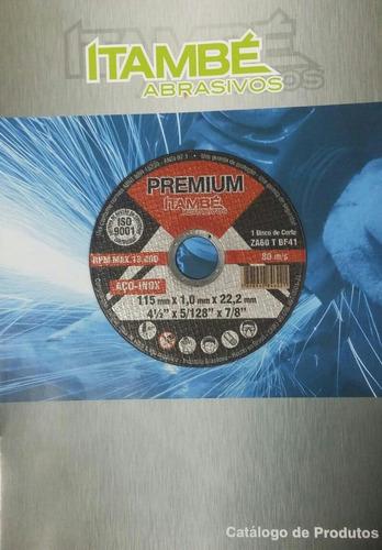 disco de corte acero inox. 4-1/2'' - itambé. 100unids.