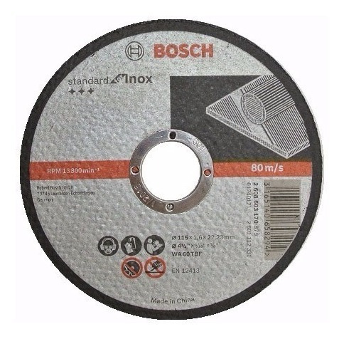disco de corte bosch acero inoxidable 115x1.6 para amoladora