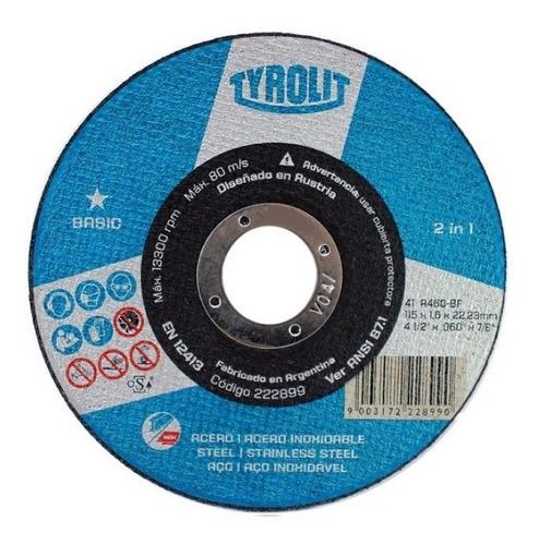 disco de corte metal amoladora 115 x 1,6 tyrolit 25 unidades