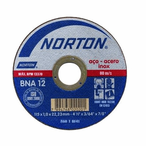 disco de corte norton bna 12 norton 115x1,0x22,23mm
