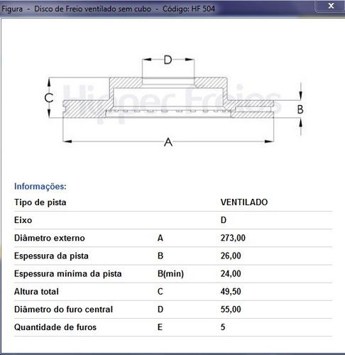 disco de freio dianteiro corolla 1.8 16v  /  2.0 16v   08/14
