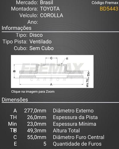 disco de freio dianteiro corolla 1.8/2.0 a partir 2014/..