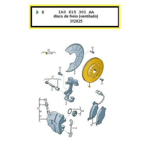 disco de freio jetta  tiguan golf cc eos novo fusca tiguan