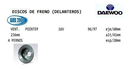 disco de freno delanteros daewoo  pointer