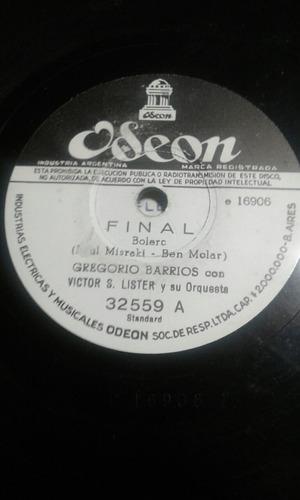disco de pasta 78 rpm gregorio barrios victor lister final