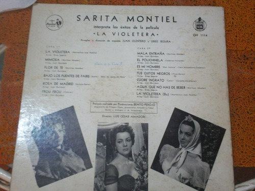 disco de sarita montiel  la violetera  (años 50), de sonolux