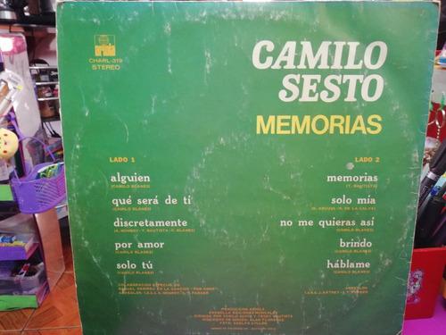 disco de vinilo camilo sesto, memorias