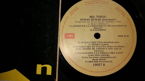 disco de vinilo -duran  duran - big thing
