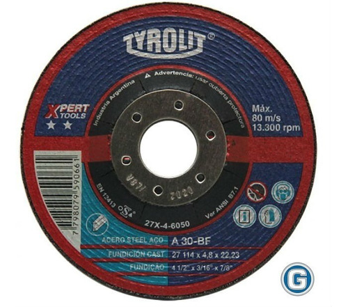 disco desbaste tyrolit  xpert 114 x 4,75 mm caja x 10 un rsp