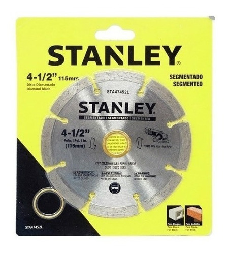 disco diamantado segmentado 4 1/2 stanley  sta47452l